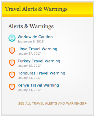 US State Dept Travel Alerts and Warnings